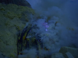 Blue flames of mount Ijen